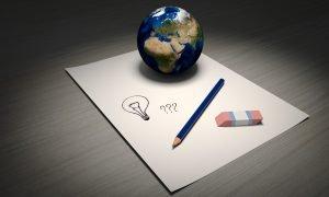 Globe, pencil, and eraser