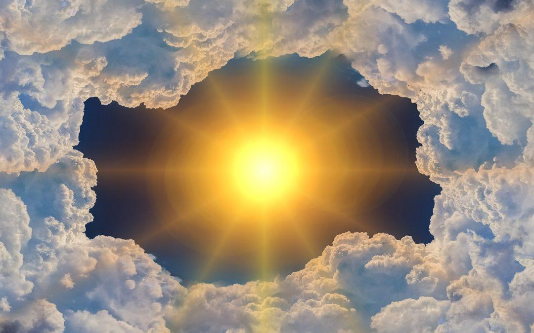 Sun peeking through clouds