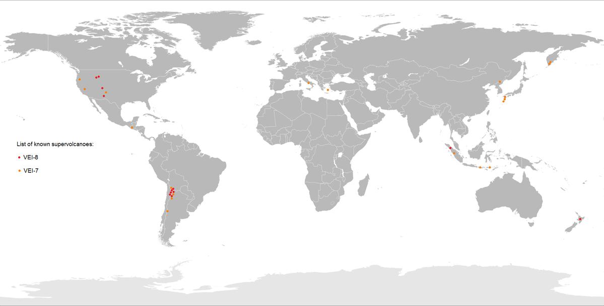 Supervolcano locations